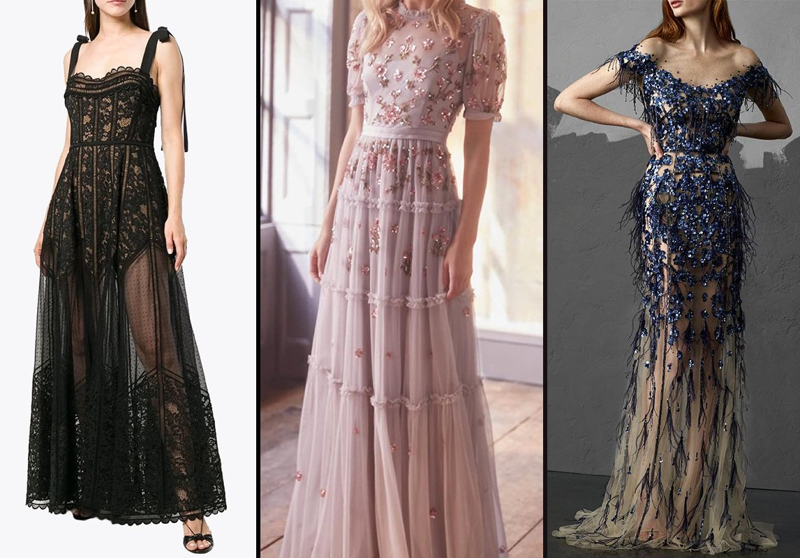 734dd52b551fe من اليمين إلى اليسار  فستان سهرة من Pamella Roland وNeedle and Thread  London وElie Saab