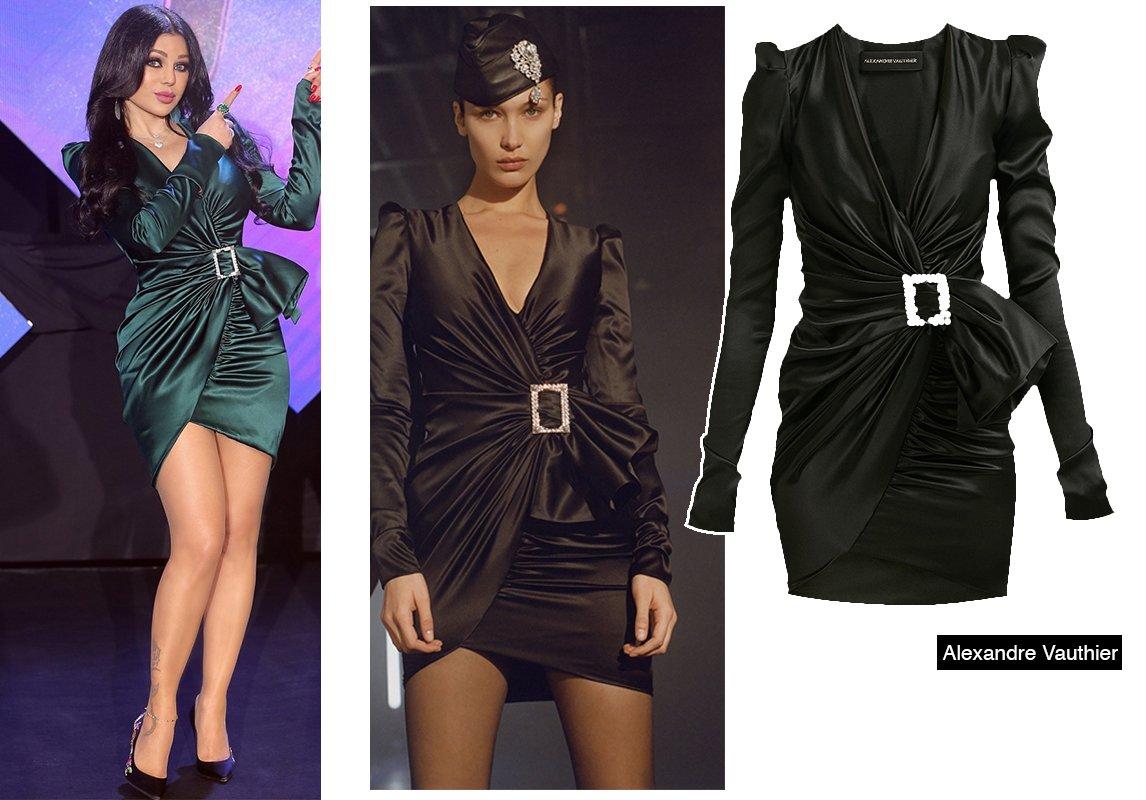 7a4cc159e ما لفتنا أيضاً في الإطلالة، الشوز الأسود من Versace الذي نسّقته مع الفستان،  وتميّز بنقشة